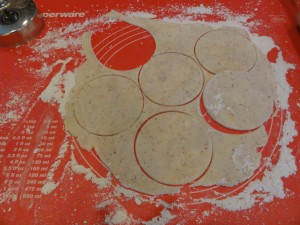 4. On lightly floured surface, roll out pastry to 1⁄8-inch thickness.Use a 3- to 6-inch cookie cutter to cut circles from the dough.