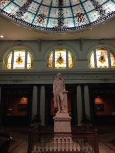This marble statue of Thomas Jefferson once watched over alligators in the Palm Court pool.